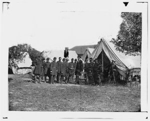 Abraham Lincoln with George McClellan and staff at Antietam