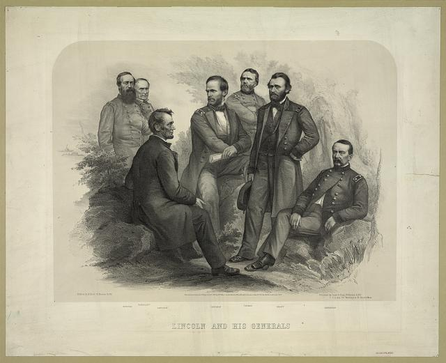 Abraham Lincoln with his generals