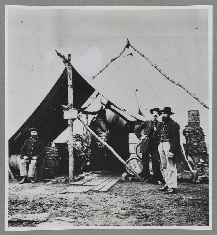 Civil War Meat Hanging in Tent