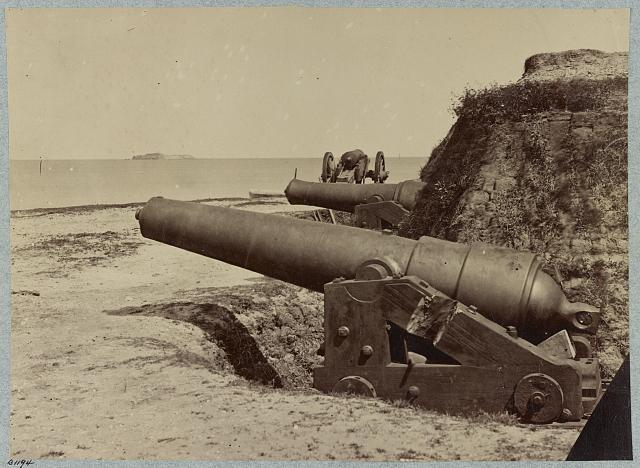 Fort Johnson Guns with Fort Sumter in the Distance