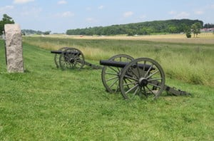 Gettysburg cannons in position on the first day of battle