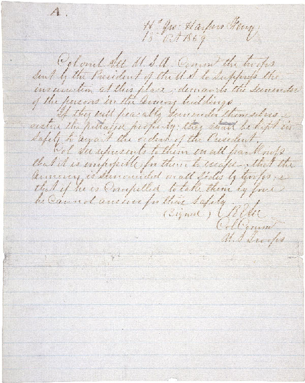Harper's Ferry Surrender Demand Letter