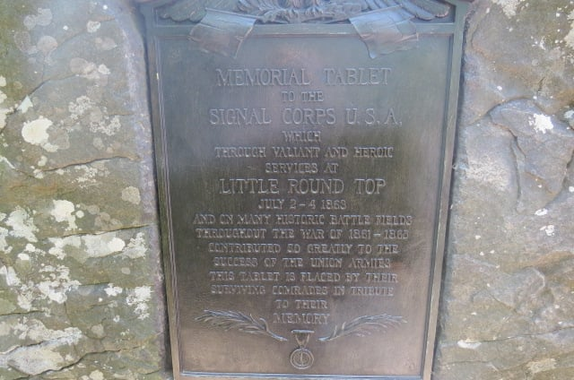Memorial Tablet for the Signal Corps on Little Round Top
