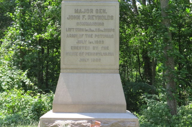 Monument marks the location where General John Reynolds was killed