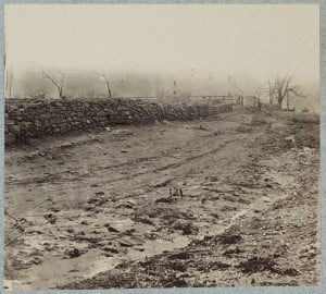 Stonewall used by Confederates at foot of Marye's Heights at Fredericksburg, December 13th 1862