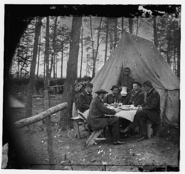 Union Officers Eating in Camp