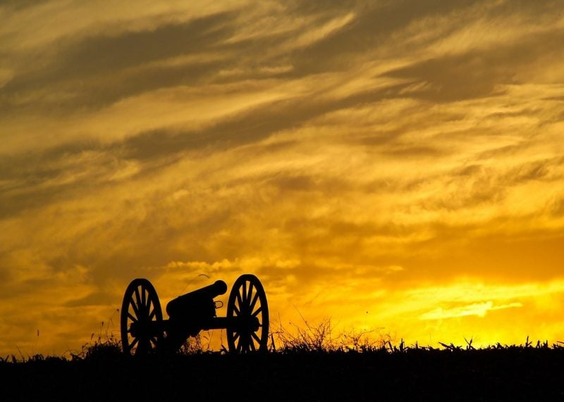 Civil War Artillery at Sunset