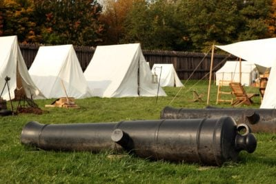 Civil War Games in Camp