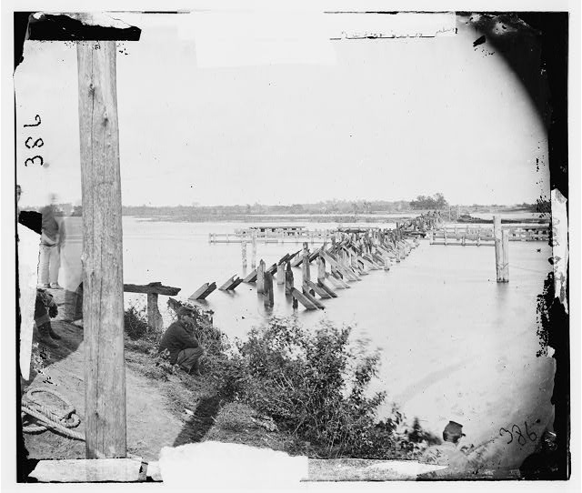 Confederate Railroads - Destroyed Bridge in Virginia